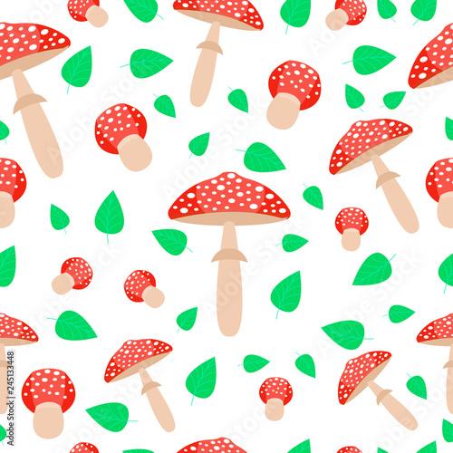 Photo Amanita seamless pattern