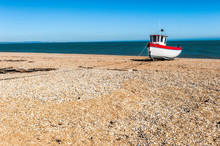 Old Fishing Boat On The Beach In Dungeness, Kent, England
