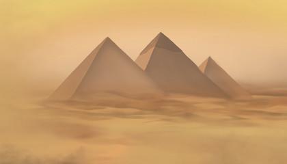 Desert landscape with pyramids. Sandstorm, camel caravan.