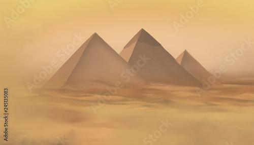 Photo Desert landscape with pyramids. Sandstorm, camel caravan.