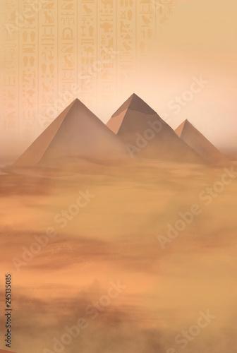 Fotografia Desert landscape with pyramids. Sandstorm, camel caravan.