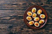 Deviled Eggs On A Plate, Rustic Style