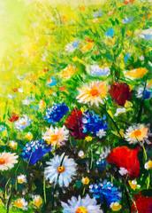 Fototapeta Łąka Flowers field oil painting