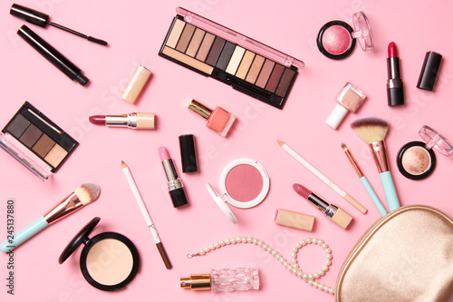 Obraz  professional makeup tools. Makeup products on a colored background top view. A set of various products for makeup. - fototapety do salonu