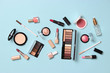 canvas print picture -  professional makeup tools. Makeup products on a colored background top view. A set of various products for makeup.
