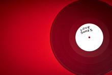 Valentines Day Background With Red LP Record With Love Songs On Red Background