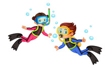 Vector Illustration Of Scuba Diver Girl And Boy