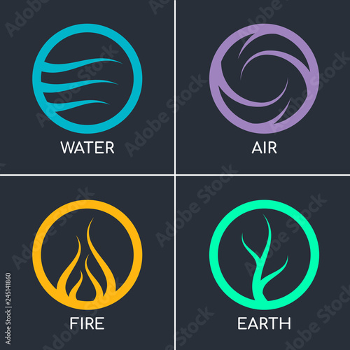 Valokuva Nature 4 elements in circle abstract icon sign wiht Water, Fire, Earth, Air