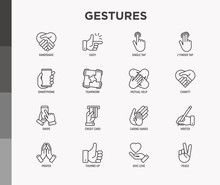 Hands Gestures Thin Line Icons Set: Handshake, Easy Sign, Single Tap, 2 Finger Tap, Holding Smartphone, Teamwork, Mutual Help, Swipe, Insert Credit Card, Prayer. Modern Vector Illustration.