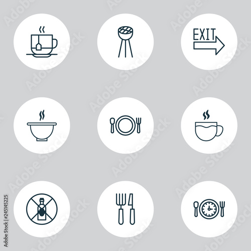 Restaurant Icons Set With Cutlery Exit Sign Soup And Other