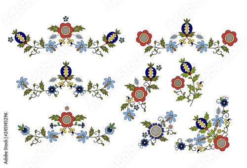 Obraz Traditional, modern Polish - Kashubian floral folk decoration vector, wzory kaszubskie, kaszubski wzór, haft - fototapety do salonu