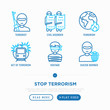 Stop terrorism thin line icons set: terrorist, civil disorder, national army, hostage, suicide, bomber. Vector illustration.
