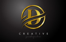 D Golden Letter Logo Design With Circle Swoosh And Gold Metal Texture