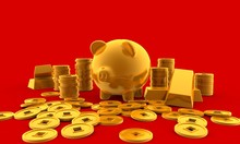 The Golden Pig With A Lot Of Gold Coins ,3D Render