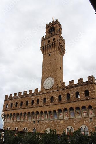 Plakat wieża zegarowa na florencji, toskania, włochy