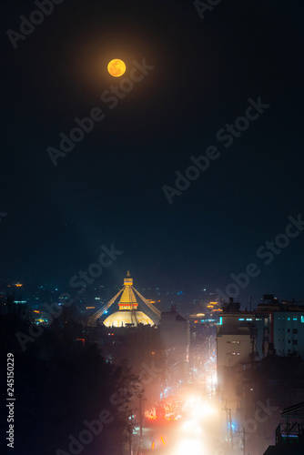 Foto op Canvas Aziatische Plekken Boudhanath stupa during a full moon night in Kathmandu, Nepal