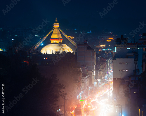 Foto op Canvas Aziatische Plekken Boudhanath stupa and Boudha Road at night in Nepal.