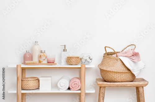 Poster Spa Spa bathroom interior with wooden shelf, stool and skincare products