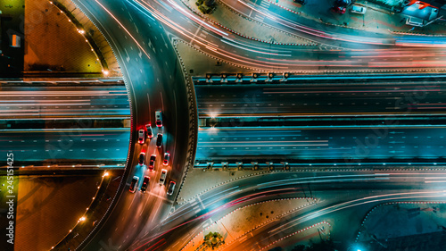 Foto op Aluminium Nacht snelweg Expressway top view, Road traffic an important infrastructure in Thailand