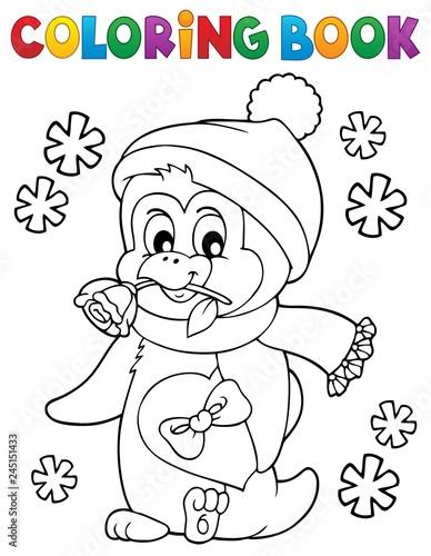 Poster Voor kinderen Coloring book happy Valentine penguin 1