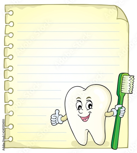 Notepad page with happy tooth