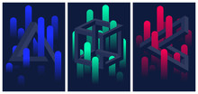 Impossible Geometric Shapes And Color Gradient Lines, Set Of Flyers And Brochures, Optical Illusion Vector Abstract Background
