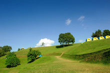 Green Hill With Blue Sky In The Morning At Sri Nan National Park Or Doi Sa Mer Dao ,tourist Attraction At Nan Province In Thailand