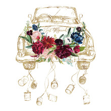 Watercolor Hand Painted Wedding Romantic Illustration On White Background - Vintage Gold Cabriolet Car With Cans & Flower Floral Bouquet Composition. Just Married! Peonies, Anemones, Roses.