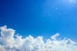 Leinwandbild Motiv bule sky with clouds background with sun bright lights