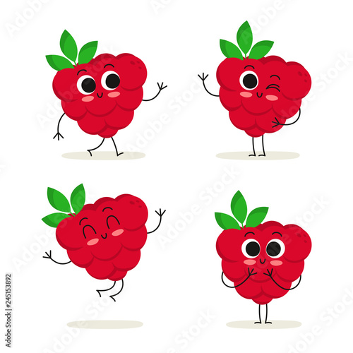 Raspberry. Cute fruit vector character set isolated on white Wall mural