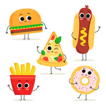 Set Of 5 Cute Cartoon Fast Food Characters Isolated On White