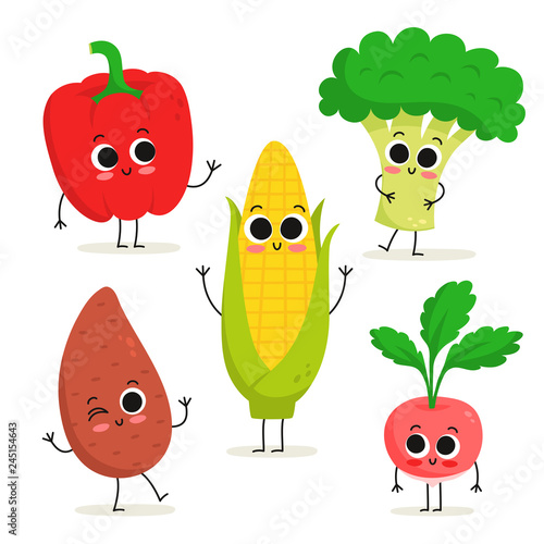 Papel de parede Set of 5 cute cartoon vegetable characters isolated on white: bell pepper, sweet