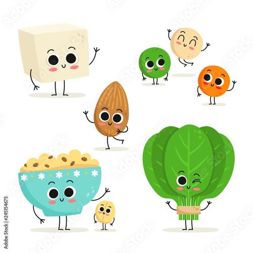 Fotografie, Obraz  Set of 5 cute cartoon vegan protein food characters isolated on white: tofu, len