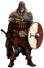 Viking With Ax And Shield On W...