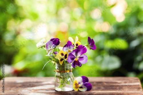 Papiers peints Pansies Bouquet of colorful pansies on green nature background. Beautiful and delicate flowers.