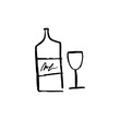 Vector botlle and wine glass, alcohol, line art, doodle, minimalistic picture, poster, postcard