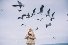 Image Of Young Woman Feeds Seagulls On The Sea. Pretty Female Wearing Coat, Scarf And Watching Flying Seagulls By The Sea In The Sky On Freezing Season. People, Travel, Environment, Nature Concept.