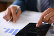 Black calculator and financial statistics