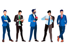 A Set Of Businessmen Five People. Isolated On White Background. In Minimalist Style. Cartoon Flat Vector