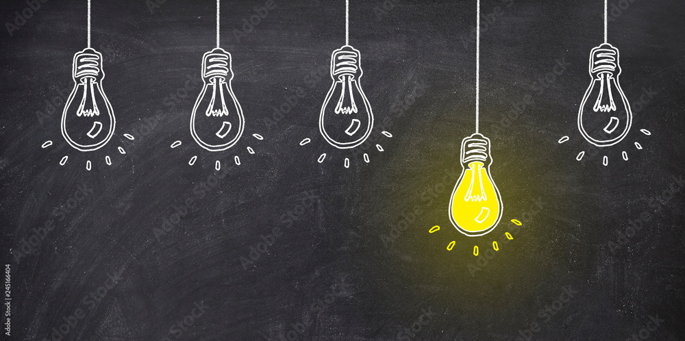 Fototapety, obrazy: five bulb on blackboard one bulb bright yellow. ideo concept