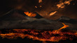 canvas print picture - Lava flowing from volcano eruption. Image montage.