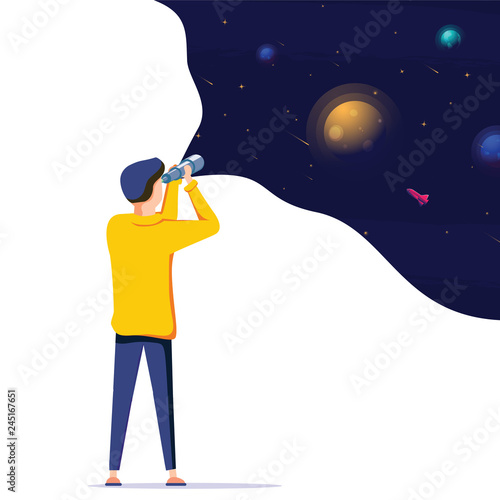 Fototapeta Man exploring space. Vector illustration flat design. Use in Web Project and Applications. Landing page concept obraz