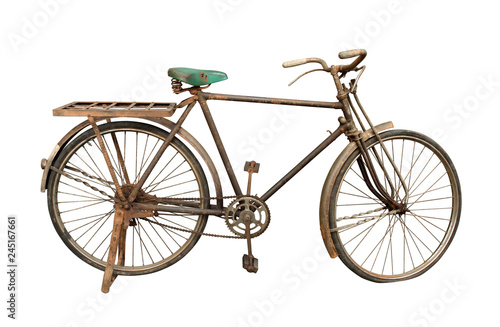 Türaufkleber Fahrrad Old bicycle (with clipping path) isolated on white background