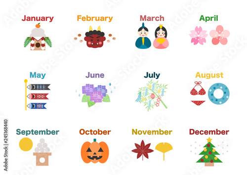 カレンダー 季節 行事イラスト アイコン 白バック Canvas
