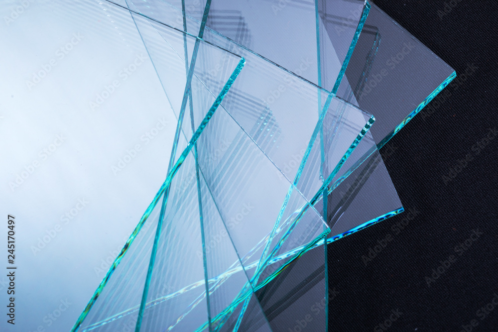 Fototapeta Sheets of Factory manufacturing tempered clear float glass panels cut to size