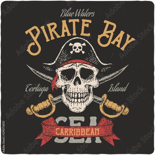 Pirate nautical logo Wallpaper Mural