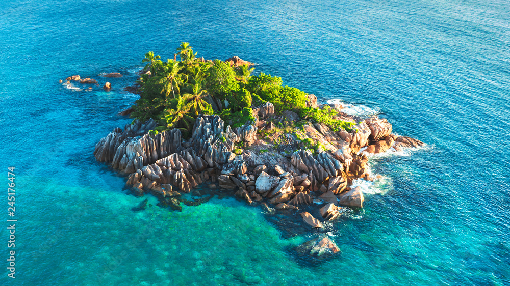 Fototapeta Tropical island with sea and palm taken from drone. Seychelles aerial photo. St Pierre Island