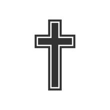 Religion, Christian Cross Icon. Flat Design. Vector Illustration.