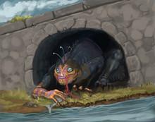 Orange Sea Creature Hiding Und...