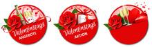 Valentinstag Angebote - Button Set Mit Rose, Sekt Und Geschenkbox